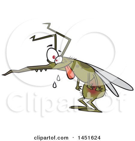 Clipart Graphic of a Cartoon Crazy Hungry Mosquito - Royalty Free Vector Illustration by toonaday
