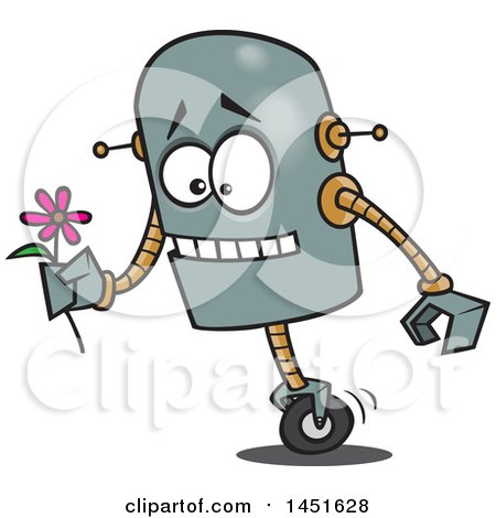 Clipart Graphic of a Cartoon Romantic Robot Holding a Flower - Royalty Free Vector Illustration by toonaday