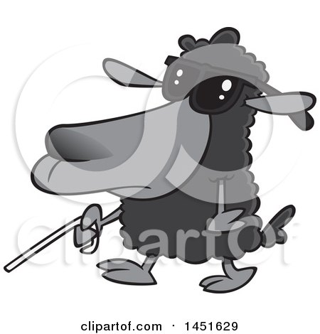 Clipart Graphic of a Cartoon Blind Black Sheep Walking with a Cane - Royalty Free Vector Illustration by toonaday