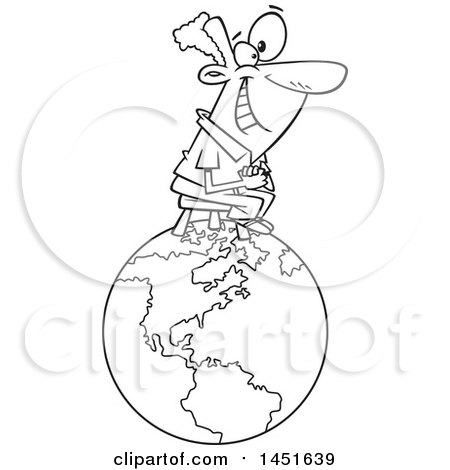 Clipart Graphic of a Cartoon Black and White Lineart Happy Man Sitting on Top of the World - Royalty Free Vector Illustration by toonaday