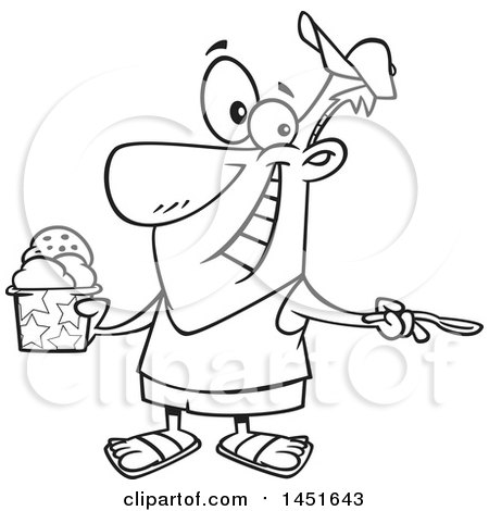 Clipart Graphic of a Cartoon Black and White Lineart Man Enjoying a Treat on Ice Cream Day - Royalty Free Vector Illustration by toonaday