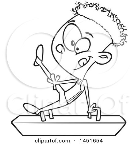 Clipart Graphic of a Cartoon Black and White Lineart Boy Gymnast on a Pommel Horse - Royalty Free Vector Illustration by toonaday
