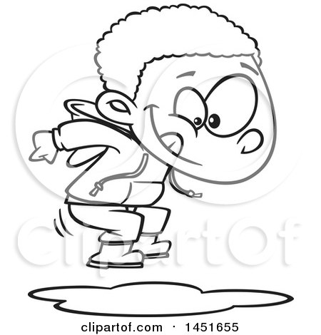 Clipart Graphic Of A Cartoon Black And White Lineart Boy