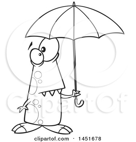 Clipart Graphic of a Cartoon Black and White Lineart Shower Ready Monster Holding an Umbrella - Royalty Free Vector Illustration by toonaday