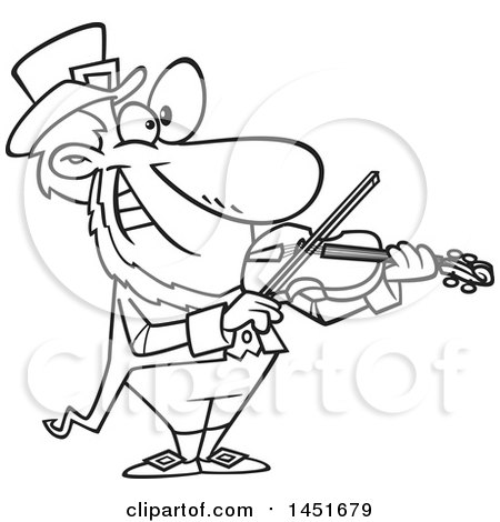 Clipart Graphic of a Cartoon Black and White Lineart Leprechaun Playing a Violin - Royalty Free Vector Illustration by toonaday