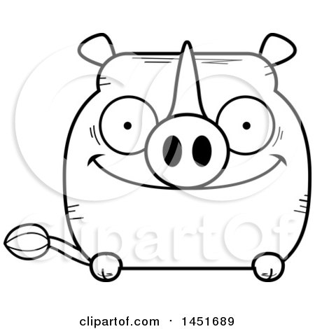 Clipart Graphic of a Cartoon Black and White Lineart Happy Rhinoceros Character Mascot - Royalty Free Vector Illustration by Cory Thoman