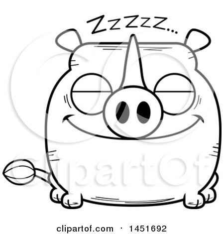 Clipart Graphic of a Cartoon Black and White Lineart Sleeping Rhinoceros Character Mascot - Royalty Free Vector Illustration by Cory Thoman