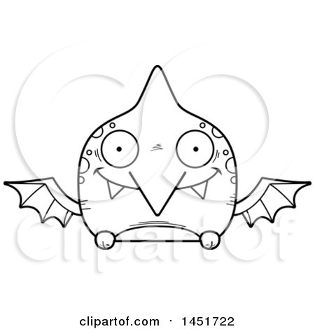Clipart Graphic of a Cartoon Black and White Lineart Happy Pterodactyl Character Mascot - Royalty Free Vector Illustration by Cory Thoman
