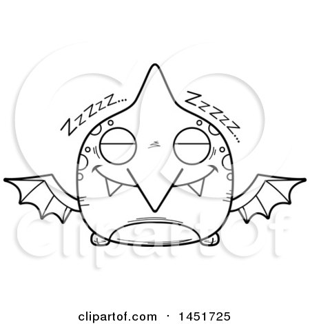 Clipart Graphic of a Cartoon Black and White Lineart Sleeping Pterodactyl Character Mascot - Royalty Free Vector Illustration by Cory Thoman