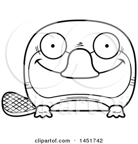 Clipart Graphic of a Cartoon Black and White Lineart Happy Platypus Character Mascot - Royalty Free Vector Illustration by Cory Thoman