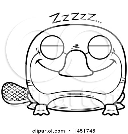 Clipart Graphic of a Cartoon Black and White Lineart Sleeping Platypus Character Mascot - Royalty Free Vector Illustration by Cory Thoman