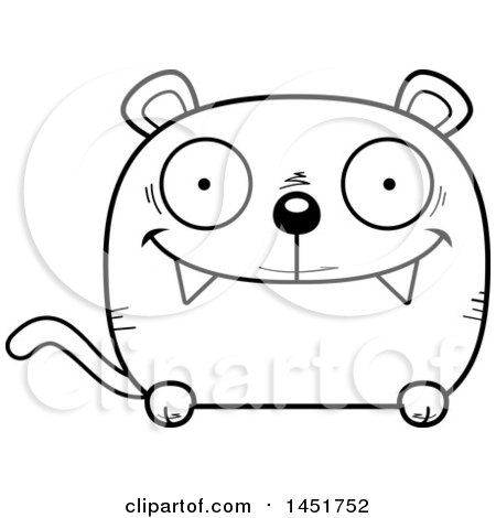 Clipart Graphic of a Cartoon Black and White Lineart Happy Panther Character Mascot - Royalty Free Vector Illustration by Cory Thoman