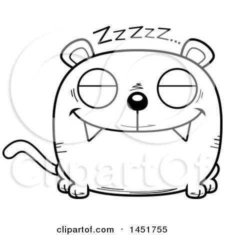Clipart Graphic of a Cartoon Black and White Lineart Sleeping Panther Character Mascot - Royalty Free Vector Illustration by Cory Thoman