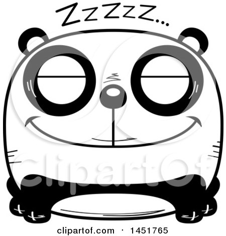 Clipart Graphic of a Cartoon Black and White Sleeping Panda Character Mascot - Royalty Free Vector Illustration by Cory Thoman