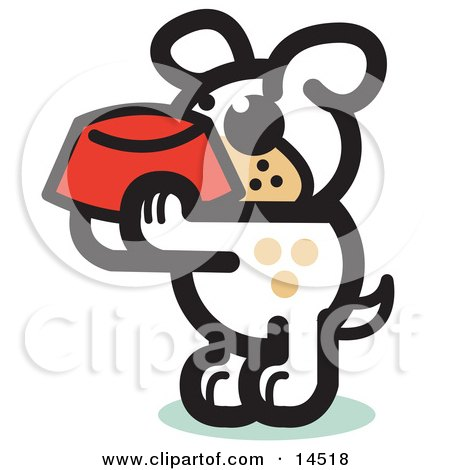 Hungry Dog Holding A Red Dog Bowl, Waiting To Be Fed Clipart Illustration by Andy Nortnik