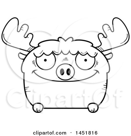 Clipart Graphic of a Cartoon Black and White Lineart Happy Moose Character Mascot - Royalty Free Vector Illustration by Cory Thoman
