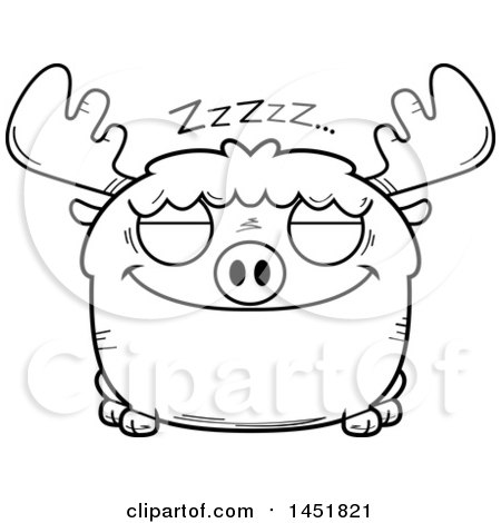 Clipart Graphic of a Cartoon Black and White Lineart Sleeping Moose Character Mascot - Royalty Free Vector Illustration by Cory Thoman