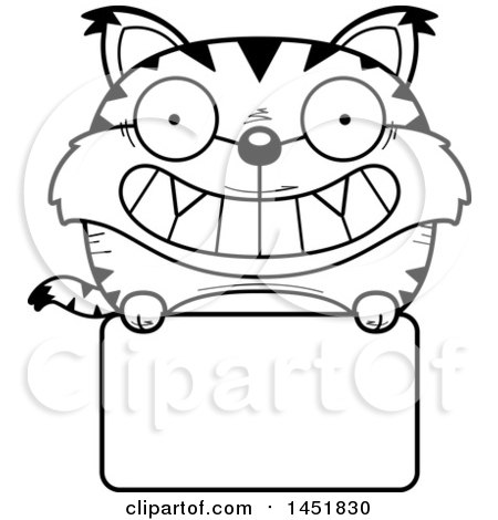 Clipart Graphic of a Cartoon Black and White Lineart Lynx Character Mascot over a Blank Sign - Royalty Free Vector Illustration by Cory Thoman