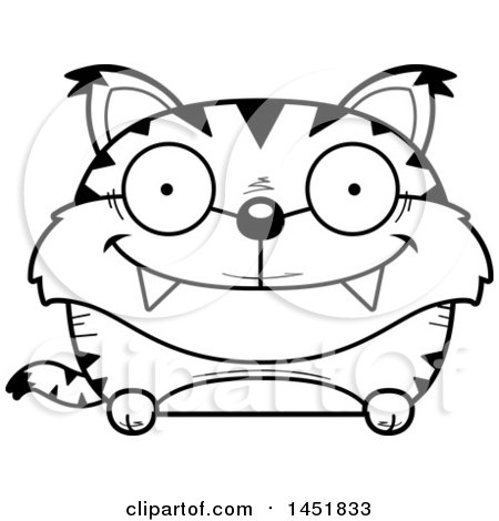Clipart Graphic of a Cartoon Black and White Lineart Happy Lynx Character Mascot - Royalty Free Vector Illustration by Cory Thoman