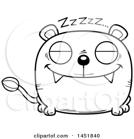 Clipart Graphic of a Cartoon Black and White Lineart Sleeping Lioness Character Mascot - Royalty Free Vector Illustration by Cory Thoman