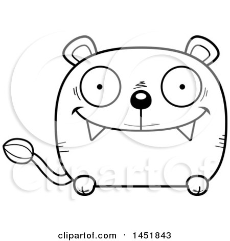 Clipart Graphic of a Cartoon Black and White Lineart Happy Lioness Character Mascot - Royalty Free Vector Illustration by Cory Thoman