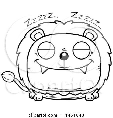 Clipart Graphic of a Cartoon Black and White Lineart Sleeping Male Lion Character Mascot - Royalty Free Vector Illustration by Cory Thoman