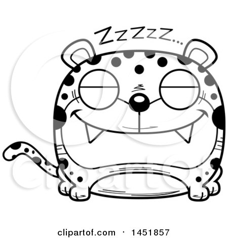 Clipart Graphic of a Cartoon Black and White Lineart Sleeping Leopard Character Mascot - Royalty Free Vector Illustration by Cory Thoman