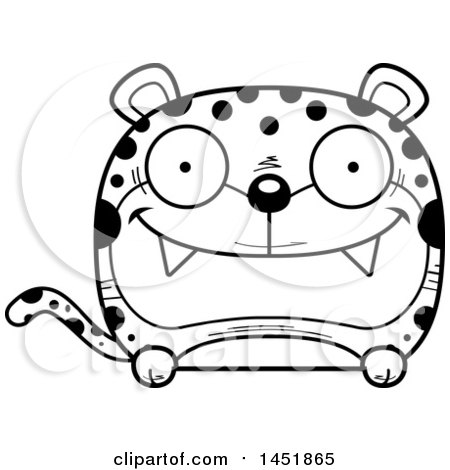 Clipart Graphic of a Cartoon Black and White Lineart Happy Leopard Character Mascot - Royalty Free Vector Illustration by Cory Thoman