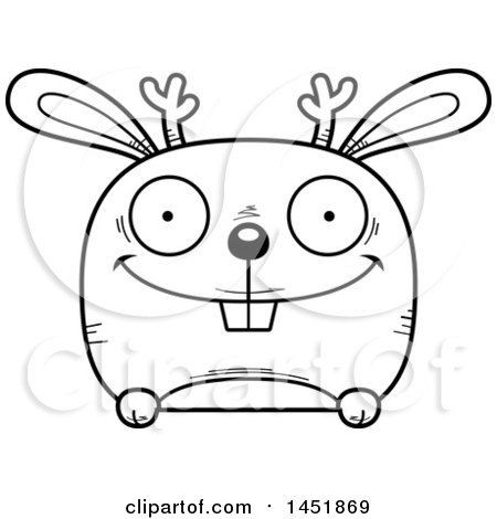 Clipart Graphic of a Cartoon Black and White Lineart Happy Jackalope Character Mascot - Royalty Free Vector Illustration by Cory Thoman