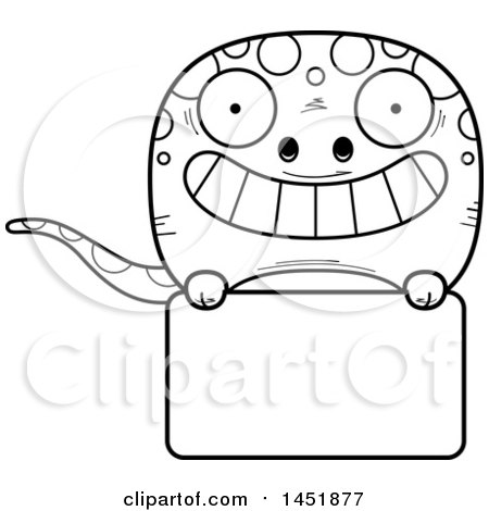 Clipart Graphic of a Cartoon Black and White Lineart Gecko Character Mascot over a Blank Sign - Royalty Free Vector Illustration by Cory Thoman