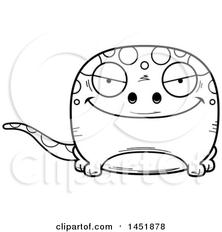 Clipart Graphic of a Cartoon Black and White Lineart Sly Gecko Character Mascot - Royalty Free Vector Illustration by Cory Thoman