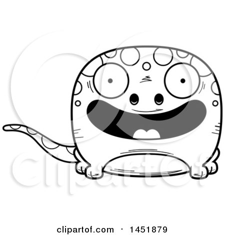 Clipart Graphic of a Cartoon Black and White Lineart Smiling Gecko Character Mascot - Royalty Free Vector Illustration by Cory Thoman