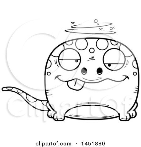 Clipart Graphic of a Cartoon Black and White Lineart Drunk Gecko Character Mascot - Royalty Free Vector Illustration by Cory Thoman
