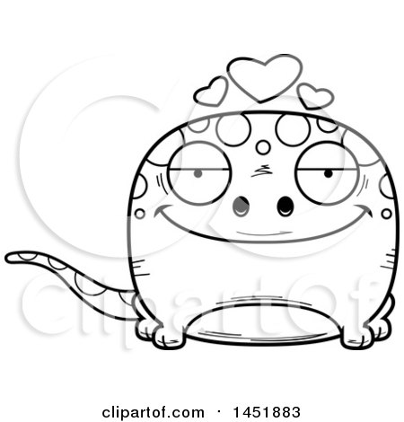 Clipart Graphic of a Cartoon Black and White Lineart Loving Gecko Character Mascot - Royalty Free Vector Illustration by Cory Thoman
