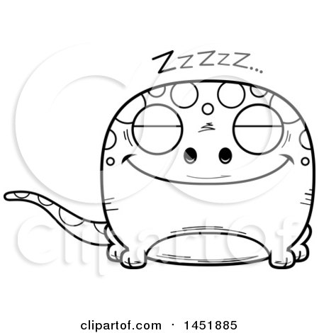 Clipart Graphic of a Cartoon Black and White Lineart Sleeping Gecko Character Mascot - Royalty Free Vector Illustration by Cory Thoman