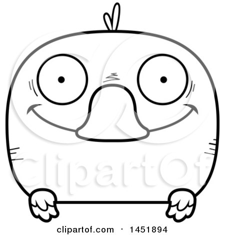 Clipart Graphic of a Cartoon Black and White Lineart Happy Duck Character Mascot - Royalty Free Vector Illustration by Cory Thoman