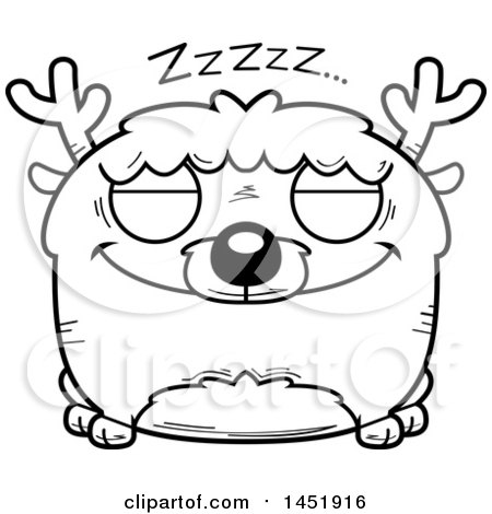 Clipart Graphic of a Cartoon Black and White Lineart Sleeping Deer Character Mascot - Royalty Free Vector Illustration by Cory Thoman