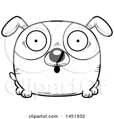 Clipart Graphic of a Cartoon Black and White Lineart Surprised Dog Character Mascot - Royalty Free Vector Illustration by Cory Thoman