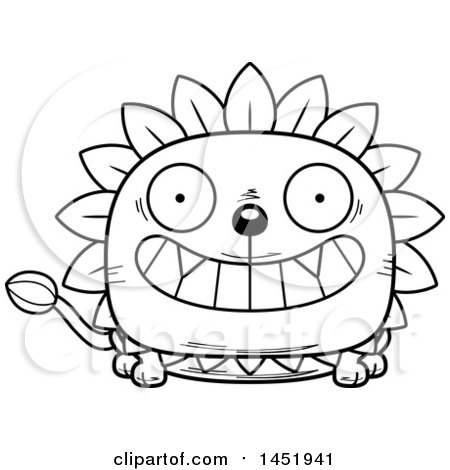 Cartoon Black and White Lineart Grinning Dandelion Character Mascot Posters, Art Prints