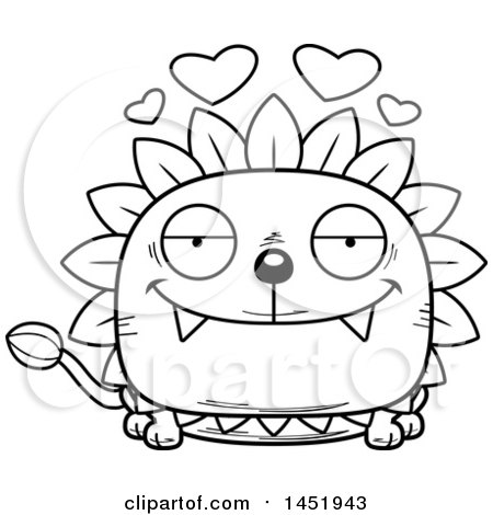Cartoon Black and White Lineart Loving Dandelion Character Mascot Posters, Art Prints