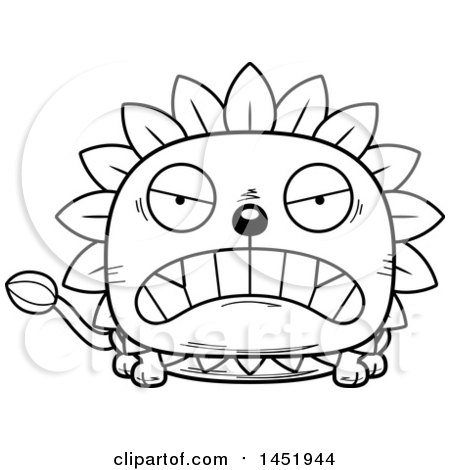 Cartoon Black and White Lineart Mad Dandelion Character Mascot Posters, Art Prints