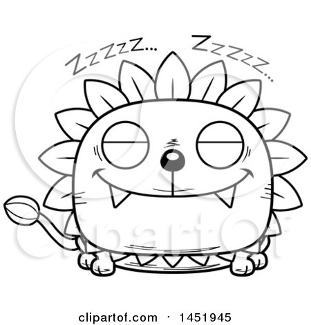 Cartoon Black and White Lineart Sleeping Dandelion Character Mascot Posters, Art Prints