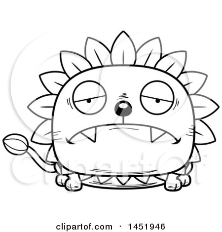 Cartoon Black and White Lineart Sad Dandelion Character Mascot Posters, Art Prints
