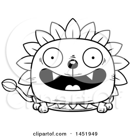 Cartoon Black and White Lineart Smiling Dandelion Character Mascot Posters, Art Prints