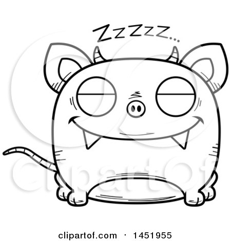 Clipart Graphic of a Cartoon Black and White Lineart Sleeping Chupacabra Character Mascot - Royalty Free Vector Illustration by Cory Thoman