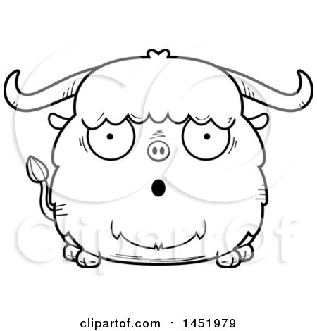 Clipart Graphic of a Cartoon Black and White Lineart Surprised Ox Character Mascot - Royalty Free Vector Illustration by Cory Thoman