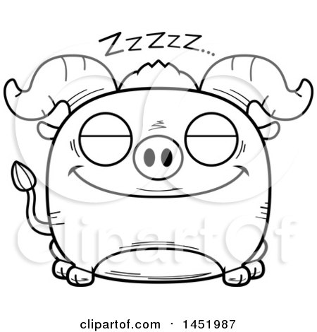Clipart Graphic of a Cartoon Black and White Lineart Sleeping Ox Character Mascot - Royalty Free Vector Illustration by Cory Thoman