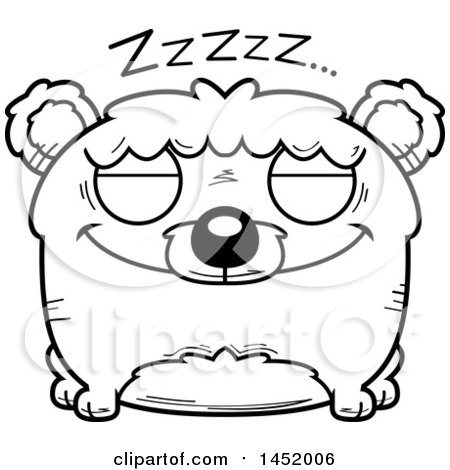 Clipart Graphic of a Cartoon Black and White Lineart Sleeping Bear Character Mascot - Royalty Free Vector Illustration by Cory Thoman