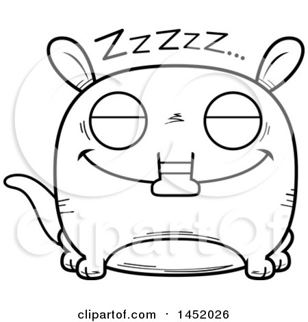Clipart Graphic of a Cartoon Black and White Lineart Sleeping Aardvark Character Mascot - Royalty Free Vector Illustration by Cory Thoman