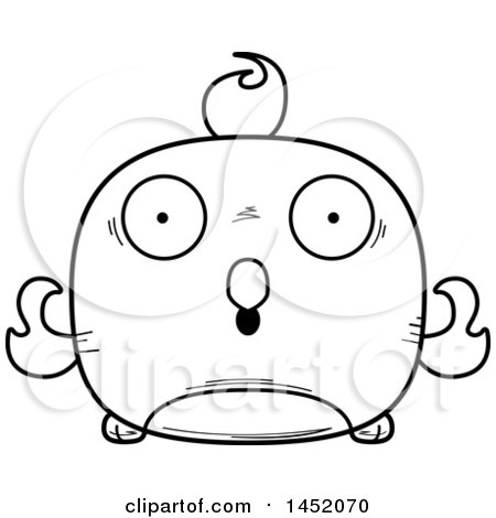 Clipart Graphic of a Cartoon Black and White Lineart Surprised Phoenix Character Mascot - Royalty Free Vector Illustration by Cory Thoman